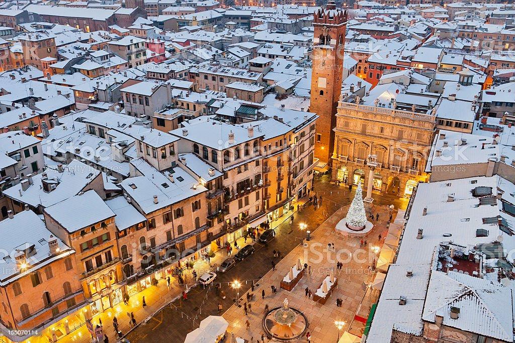 Piazza delle Erbe at Christmas, Verona stock photo