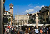 Piazza delle Erbe Full of Sightseeing Tourists, Verona, Italy.