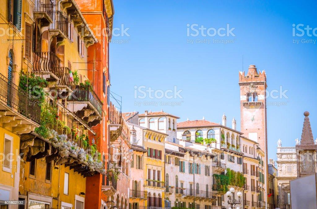 Piazza delle Erbe in center of Verona, Veneto region, Italy. stock photo