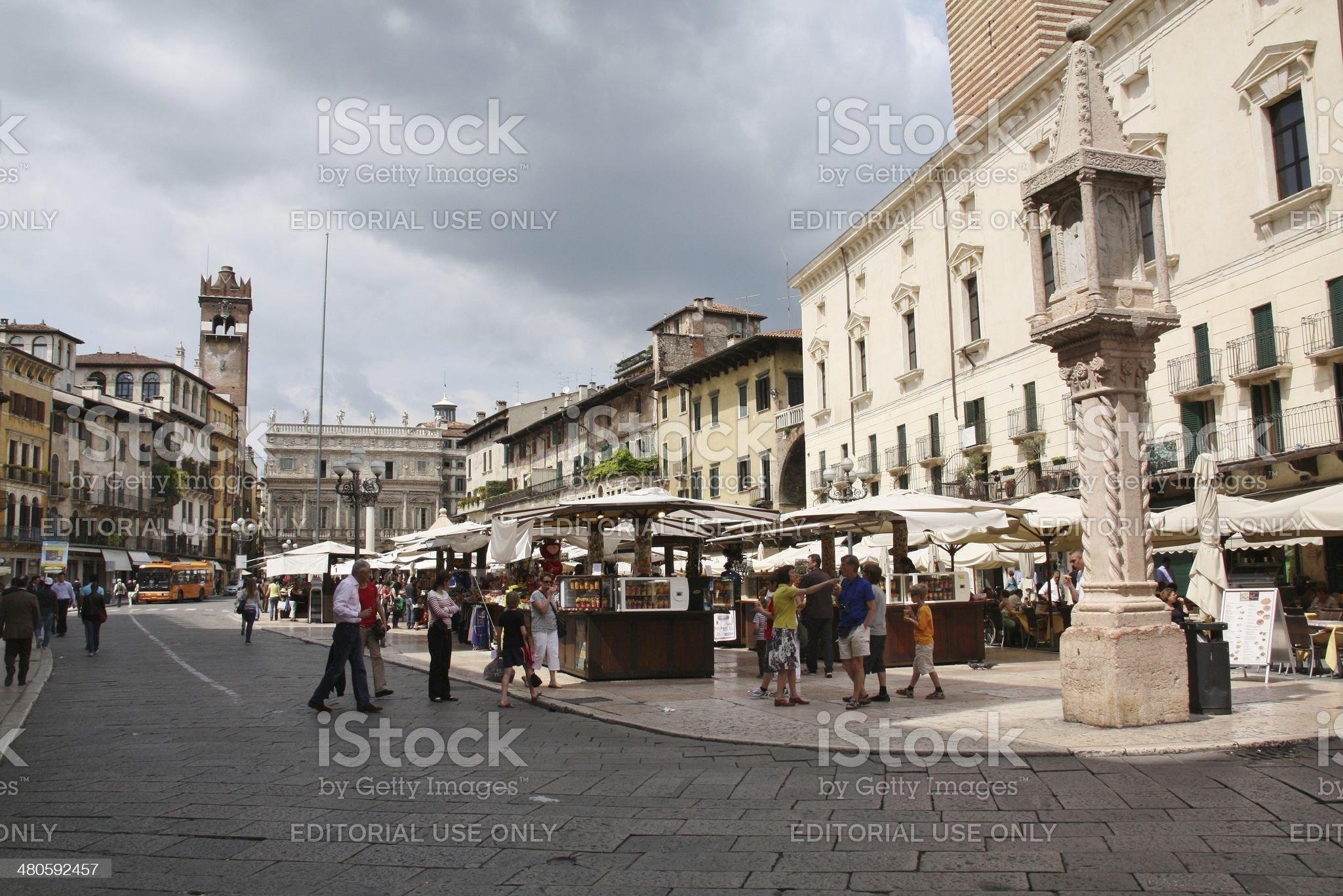Piazza delle Erbe, Verona, Italy royalty-free stock photo