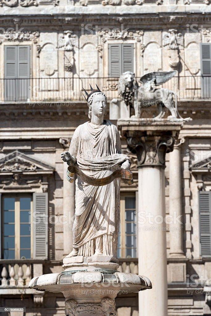 Piazza delle Erbe - Verona Italy stock photo