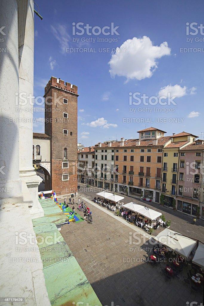 Piazza delle Erbe with Torre del Tormento . Vicenza-Italy. stock photo
