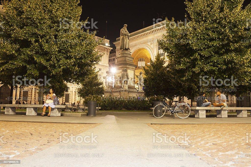 Piazza delle Scala and Leonardo da Vinci royalty-free stock photo