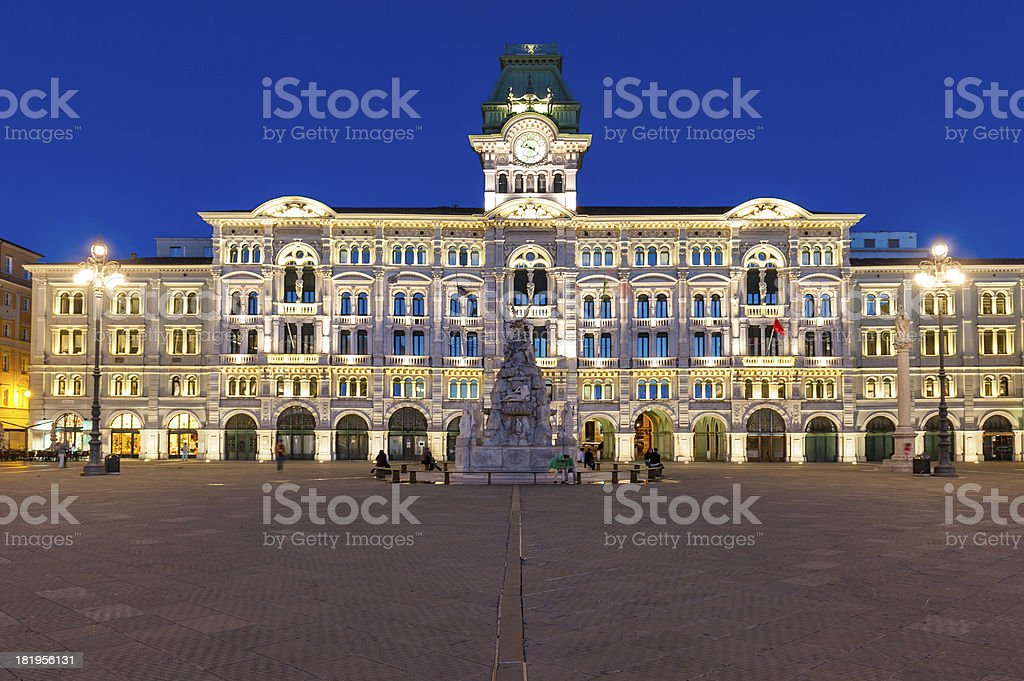 Piazza dell'Unita, Trieste City Hall, Italy royalty-free stock photo