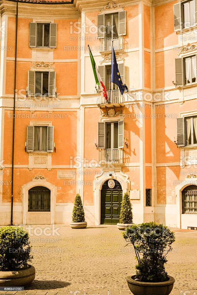 Piazza Di S. Ignazio and the Carabinieri in Rome, Italy. stock photo