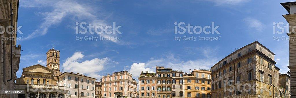Piazza di Santa Maria, Trastevere, Rome stock photo