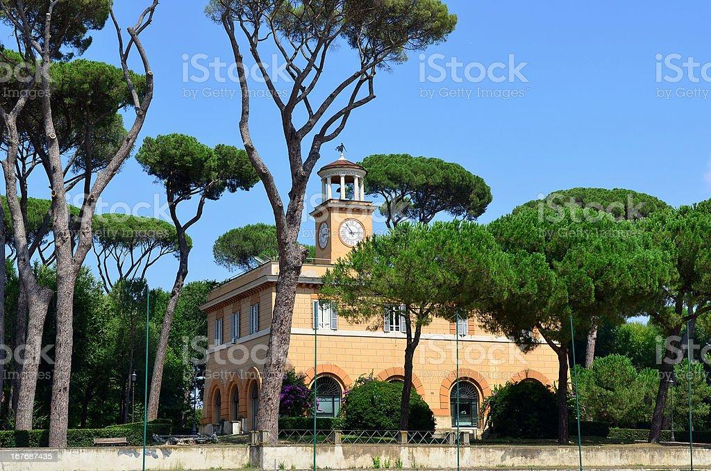 Piazza di Siena, Villa Borghese gardens, Rome stock photo