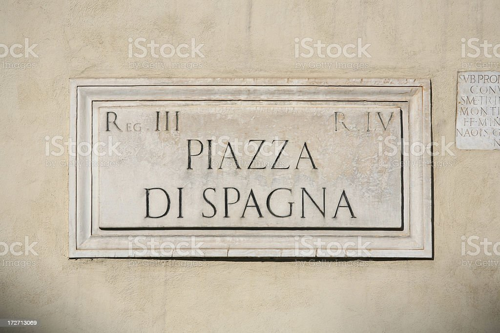 Piazza di Spagna marble sign,Rome Italy royalty-free stock photo
