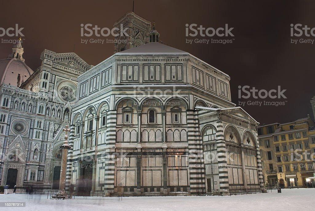 Piazza Duomo night scene with snow royalty-free stock photo