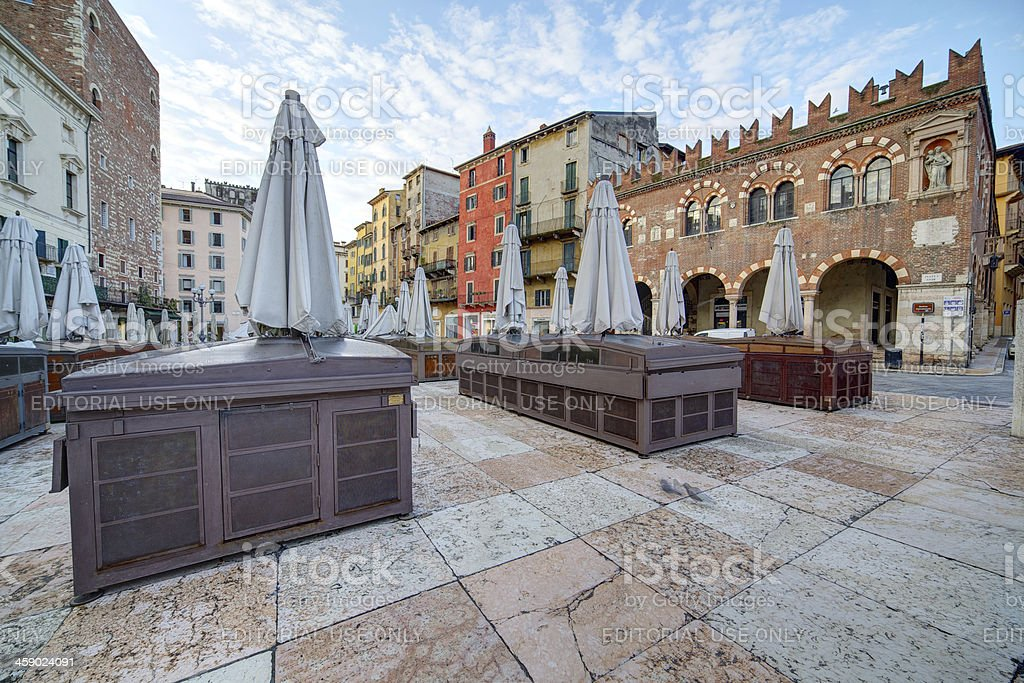 Piazza Erbe at twilight. Verona-Italy royalty-free stock photo