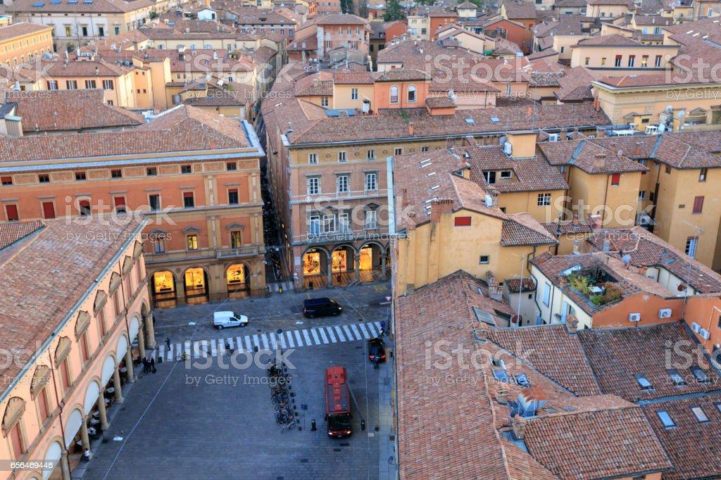 Piazza Galvani and Via Farini, Bologna, Italy stock photo