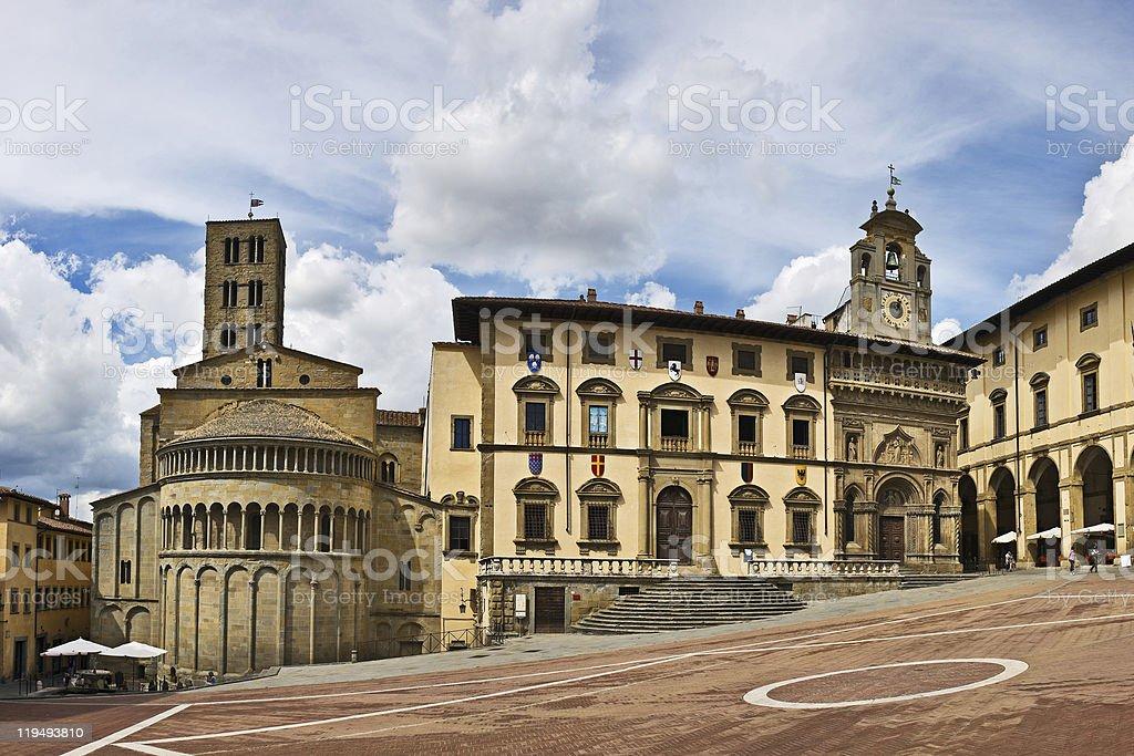 Piazza Grande square in Arezzo royalty-free stock photo