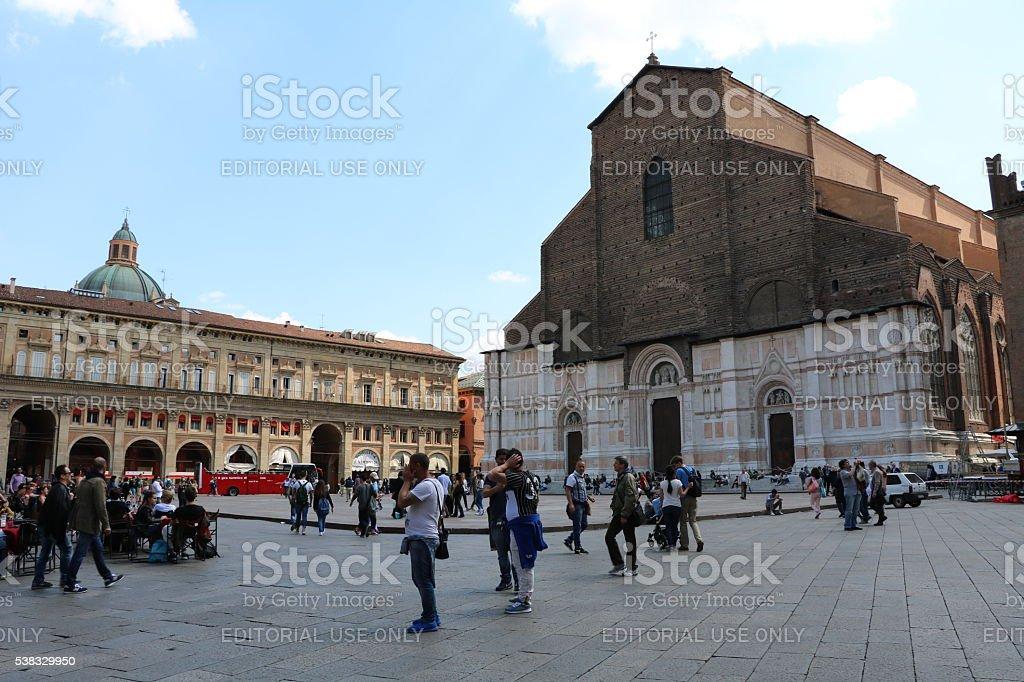 Piazza Maggiore and Basilica San Petronio in Bologna, Italy stock photo