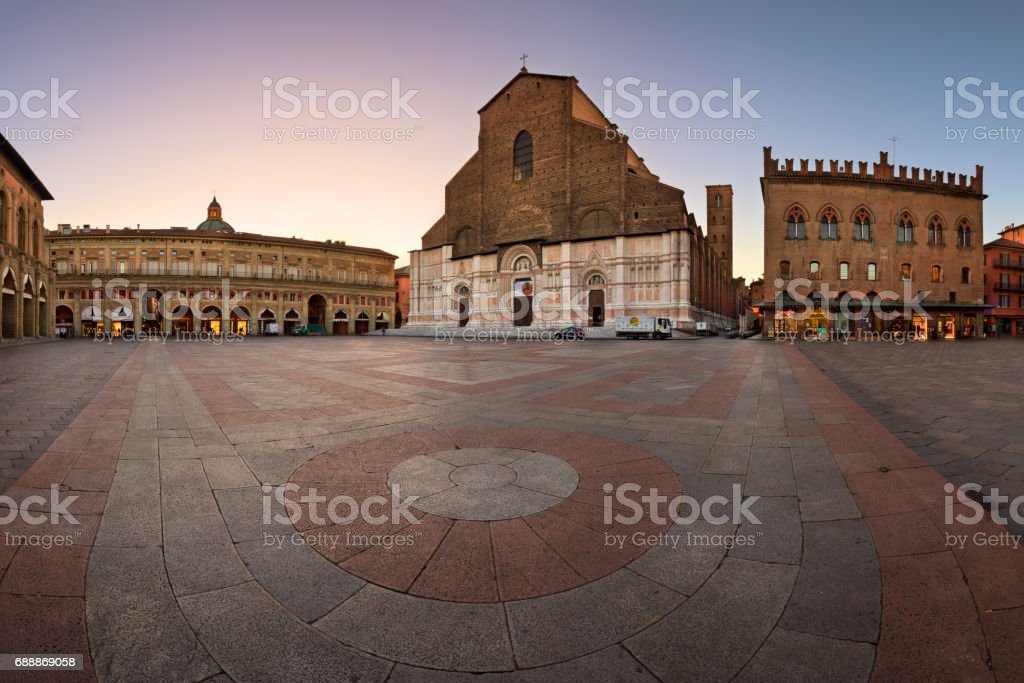 Piazza Maggiore and San Petronio Basilica in the Morning, Bologna, Emilia-Romanga, Italy stock photo