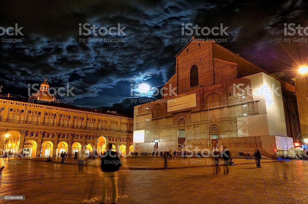 Piazza Maggiore - Bologna stock photo