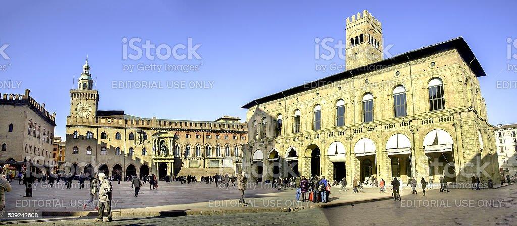Piazza Maggiore - city hall and podestà buildings stock photo