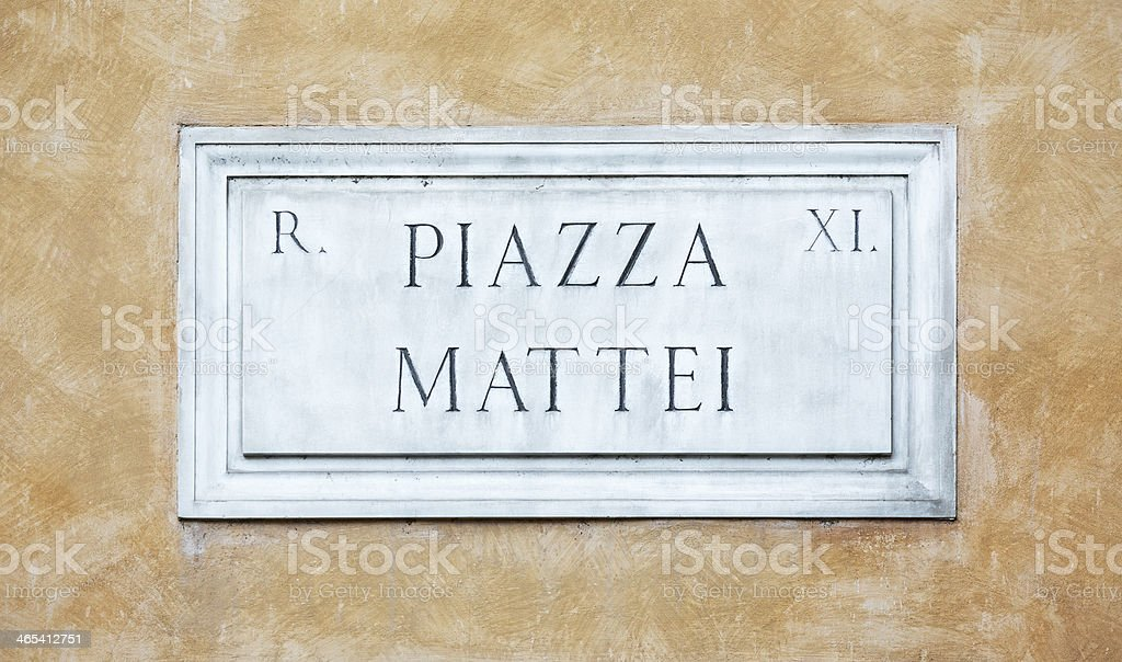 Piazza Mattei Street name sign in Rome, Italy royalty-free stock photo