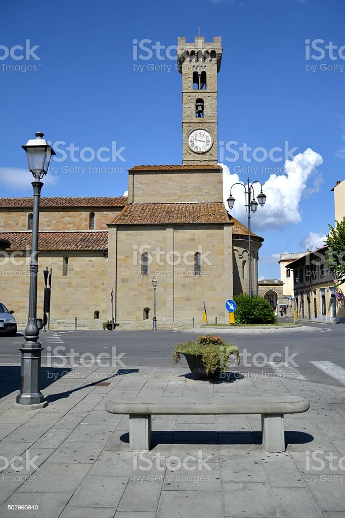Piazza Mino and Fiesole Cathedral, Florence stock photo