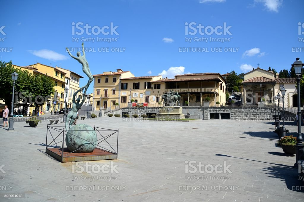 Piazza Mino and Fiesole City hall, Florence stock photo