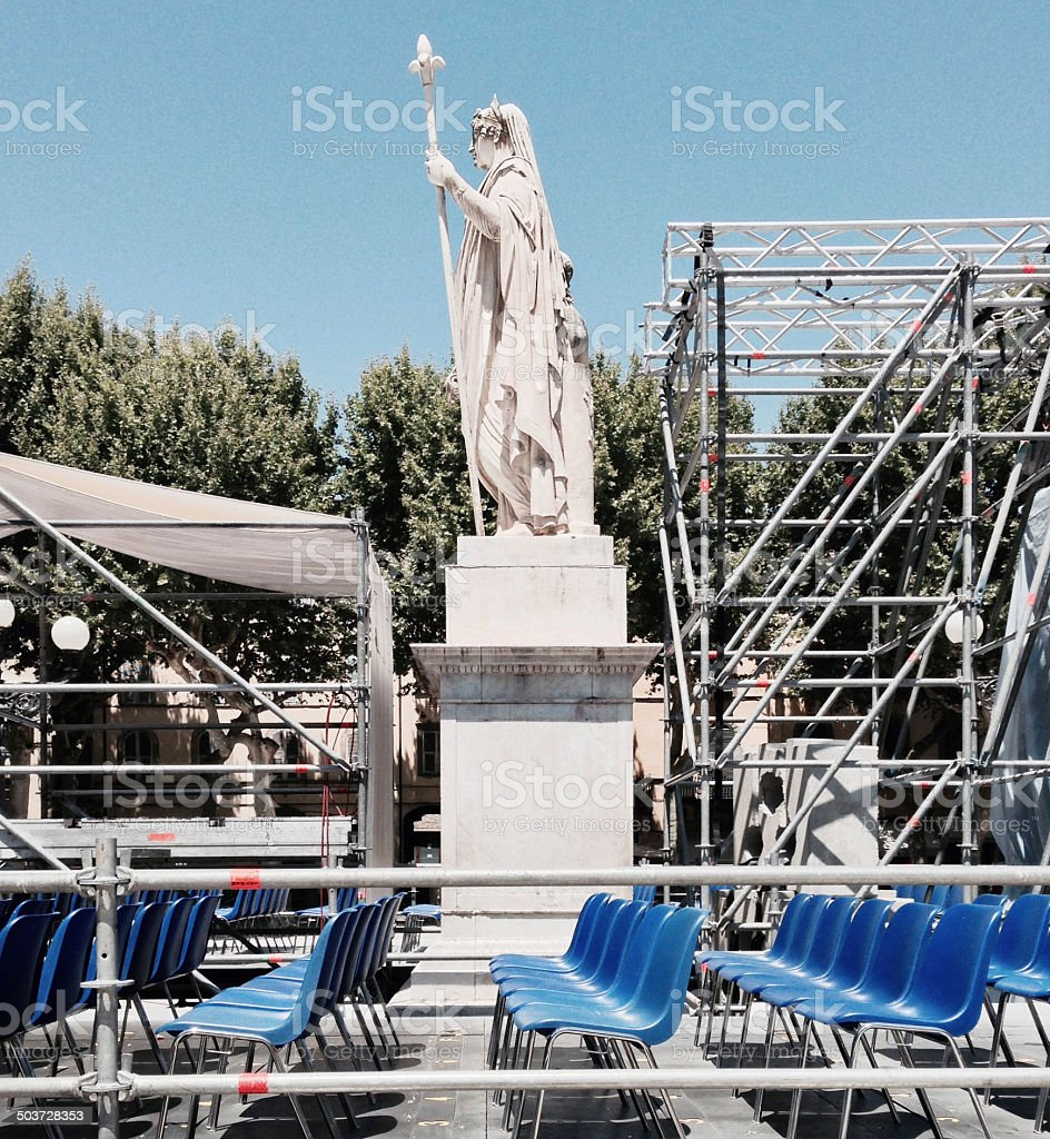 Piazza Napoleone in Lucca before a live gig stock photo
