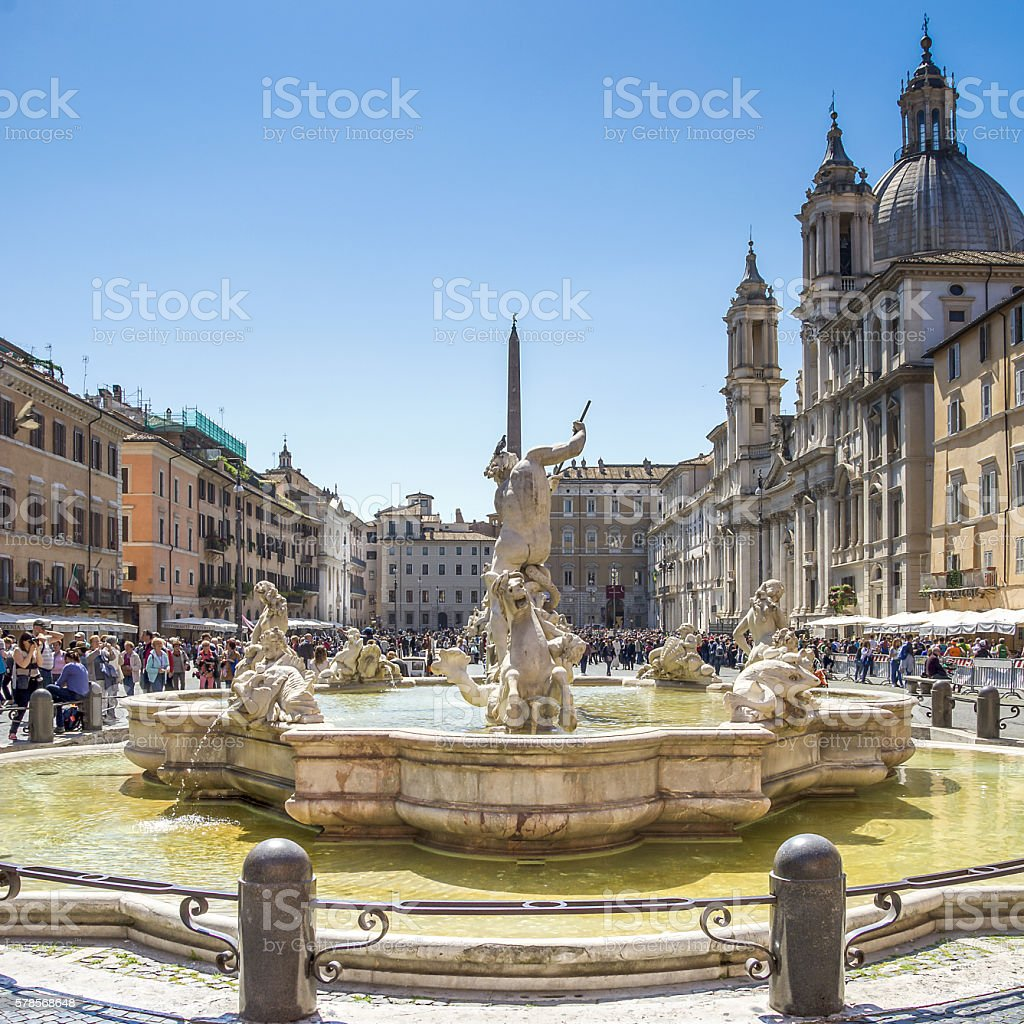 Piazza Navona in a sunny day stock photo