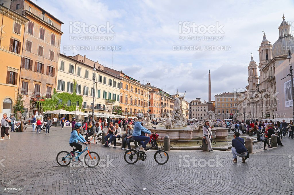 Piazza Navona - Navona Square on Rome stock photo