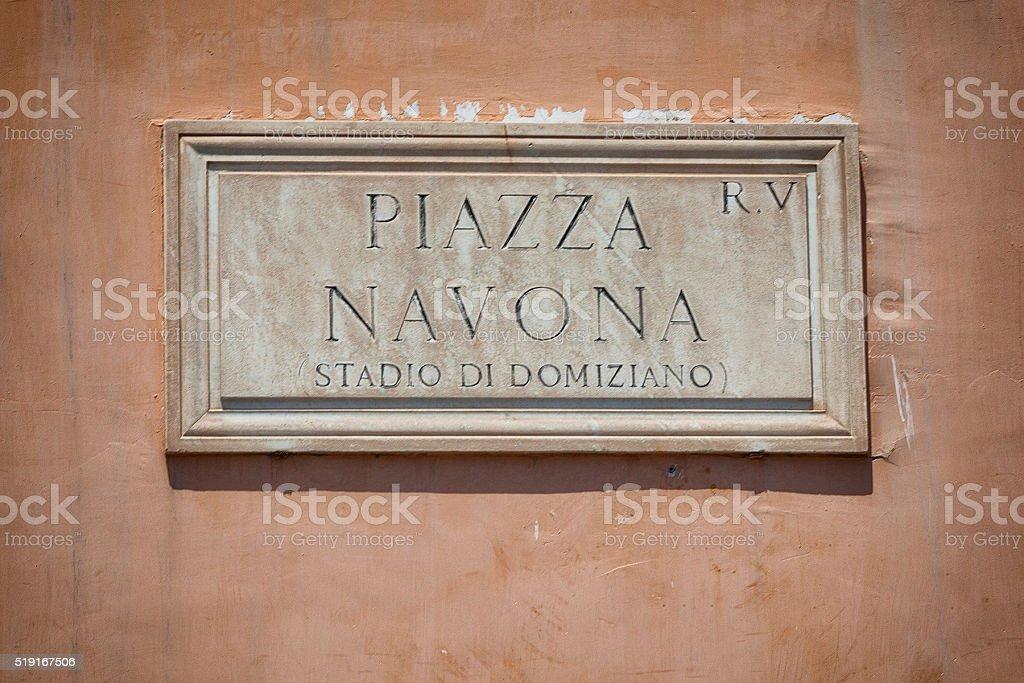 Piazza Navona Plaque in Rome, Italy stock photo