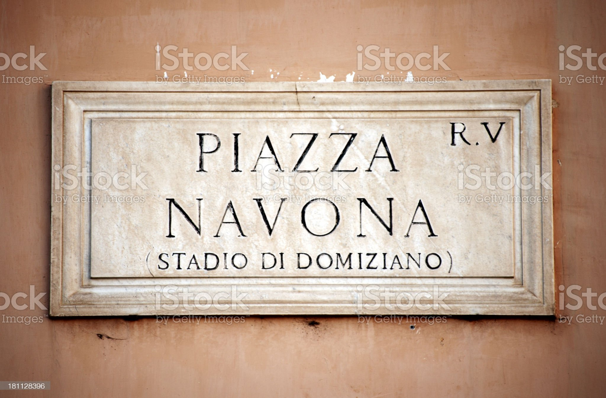 Piazza Navona sign in Rome, Italy royalty-free stock photo