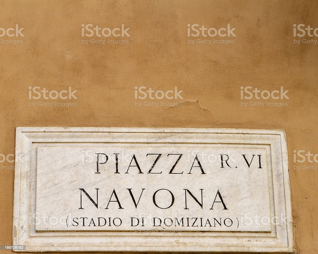 Piazza Navona Sign royalty-free stock photo