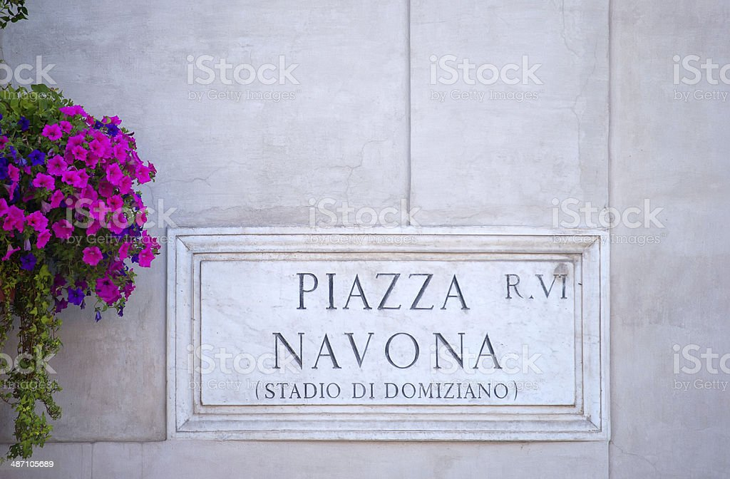 Piazza Navona Sign royalty-free stock photo