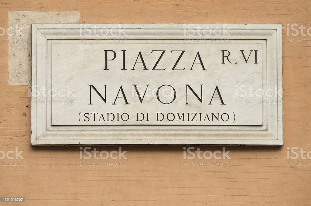 Piazza Navona sign, Rome, Italy royalty-free stock photo