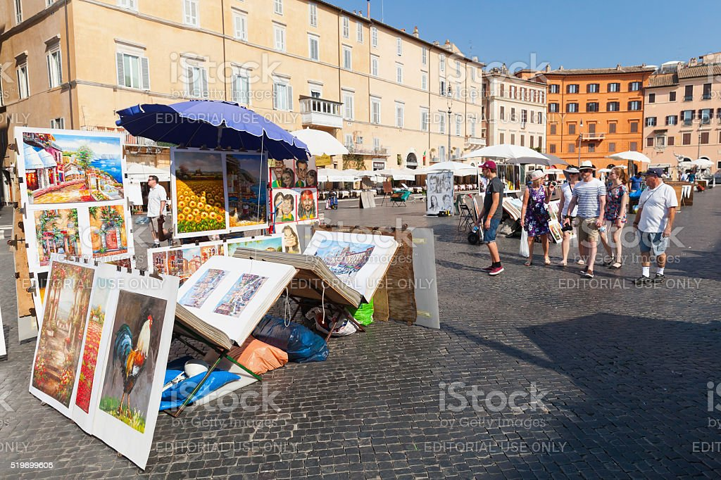 Piazza Navona, street view with paintings for sale stock photo