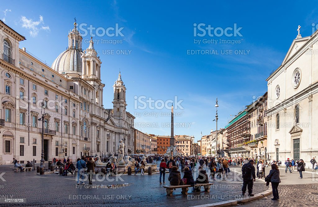 Piazza Navona with Sant'Agnese in Agone church, Rome stock photo