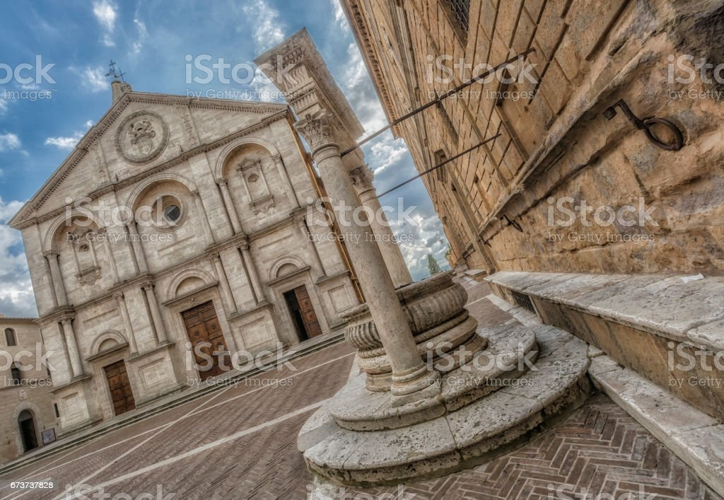 Piazza Pio XII, the cathedral of Pienza stock photo