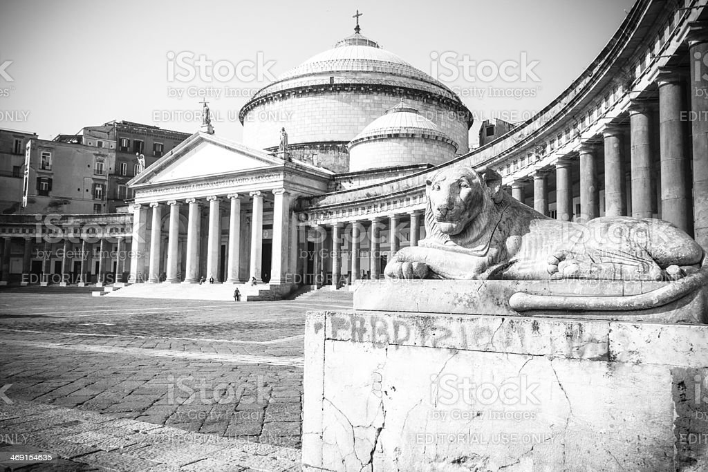 Piazza Plebiscito in Naples, Italy royalty-free stock photo
