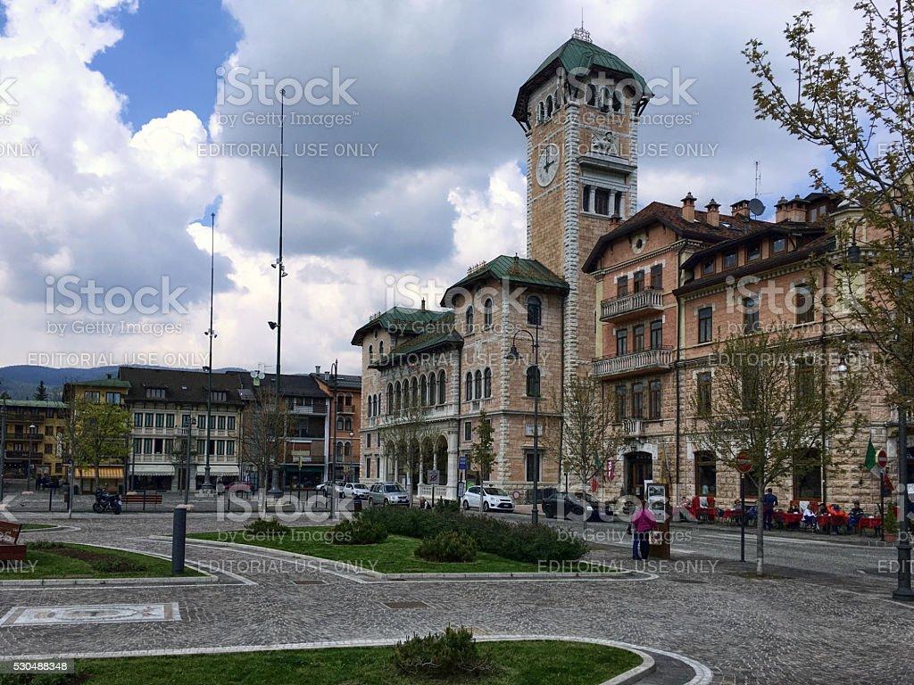 Piazza Risorgimento in Asiago stock photo