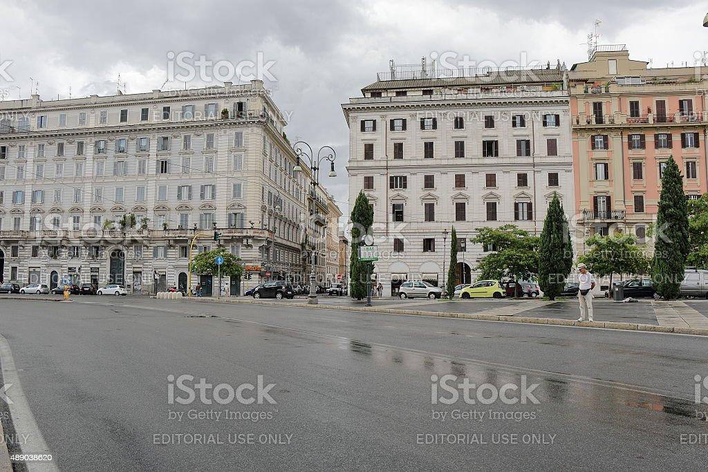 Piazza San Giovanni in Laterano in rainy weather. Rome, Italy stock photo