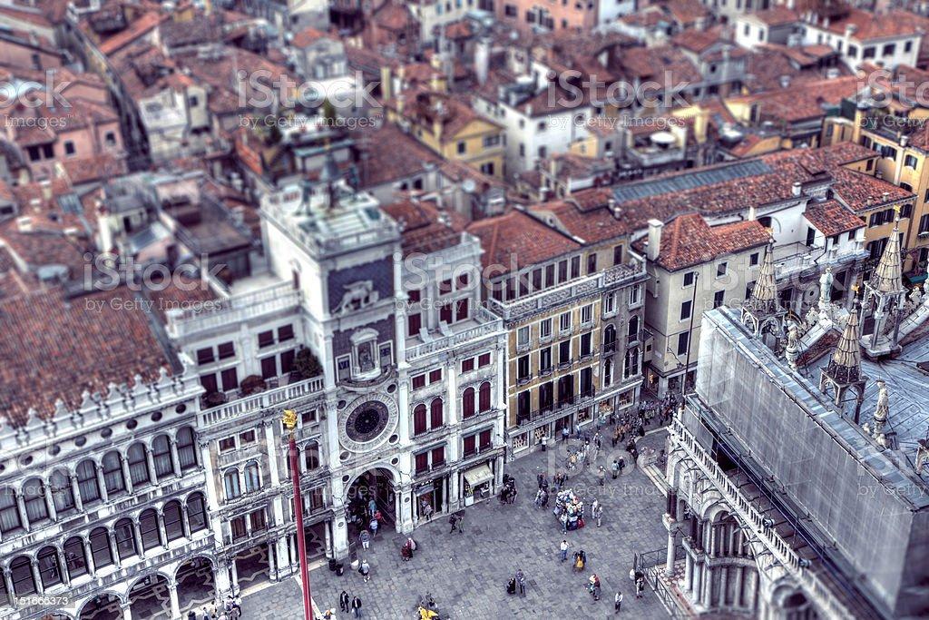 Пьяцца Сан Марко Clocktower HDR Панорамный tiltshift в Венеции, Италия Стоковые фото Стоковая фотография