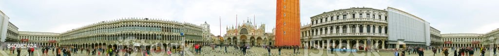 Piazza San Marco, or St Mark's Square, with ancient clock tower. This is the main square of Venice. stock photo