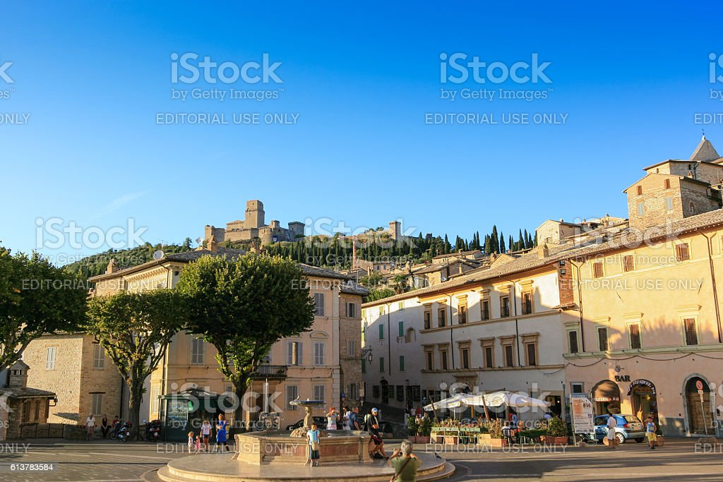 Piazza Santa Chiara and Blue Sky, Assisi, Umbria, Italy. stock photo