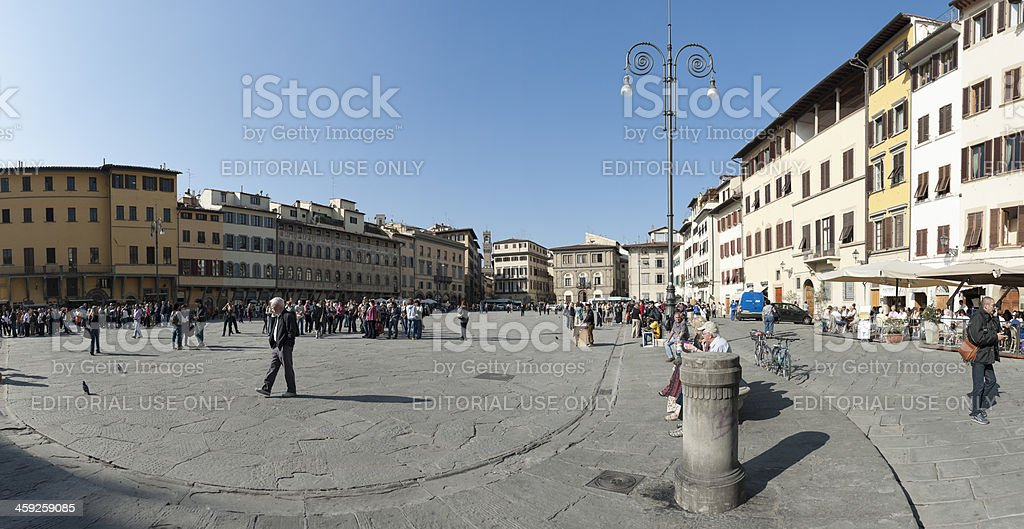 piazza santa croce, florence stock photo