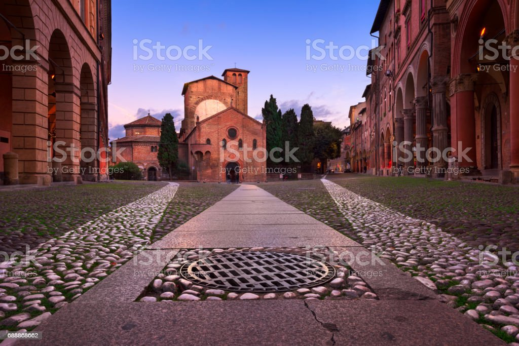 Piazza Santo Stefano in the Evening, Bologna, Emilia-Romanga, Italy stock photo