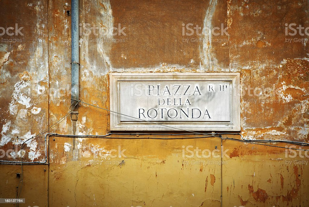 Piazza Sign in Rome royalty-free stock photo
