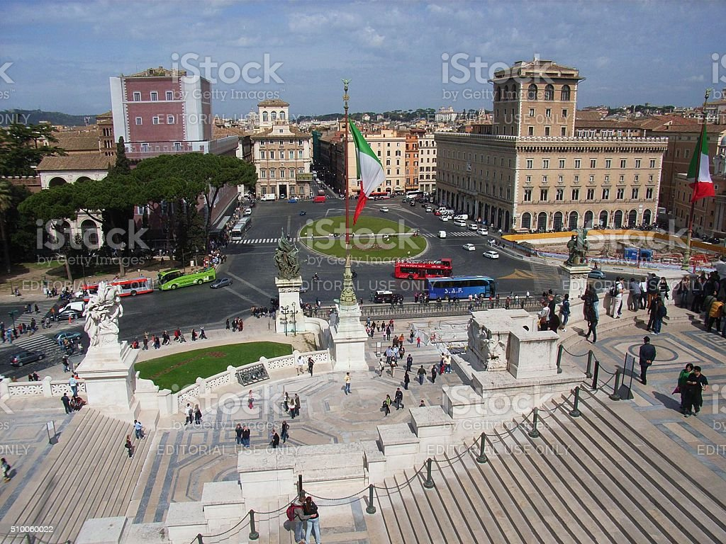 Piazza Venezia dal Vittoriano stock photo