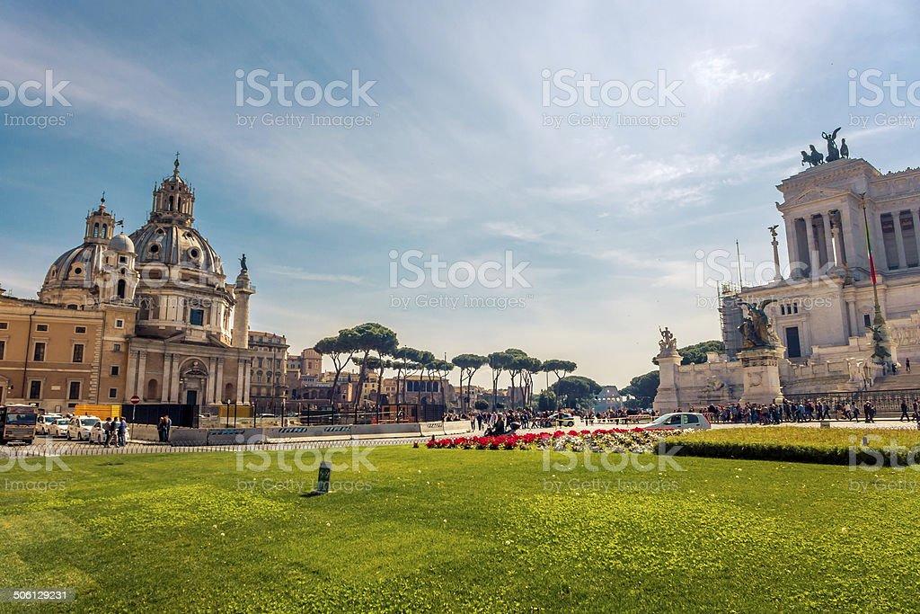 Piazza Venezia, em Roma, Itália foto royalty-free