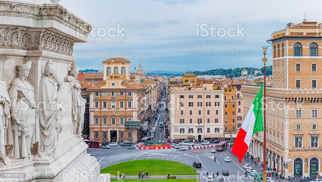 Piazza Venezia Panorama from Altar of the Fatherland Rome Italy stock photo