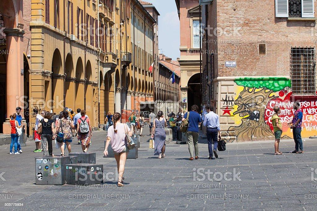 Piazza Verdi and Via Zamboni in Bologna stock photo