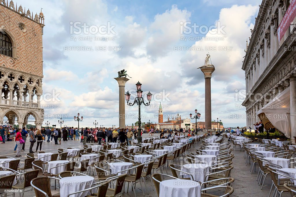 Piazzetta di San Marco in the evening in Venice stock photo