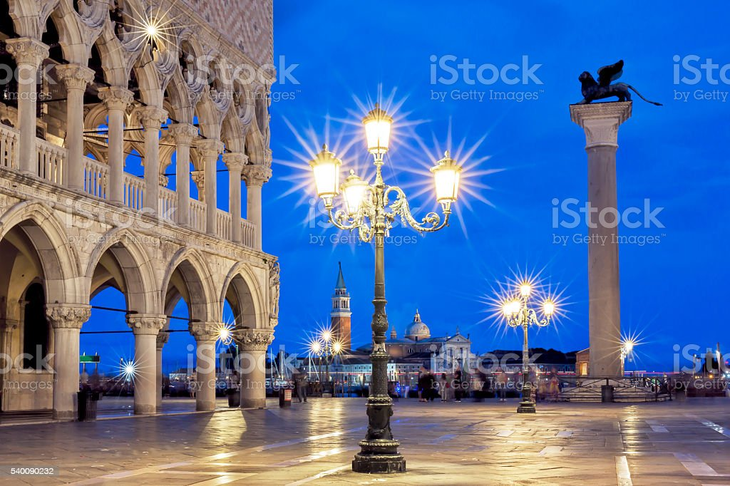 Piazzetta of St Mark's Square at night stock photo