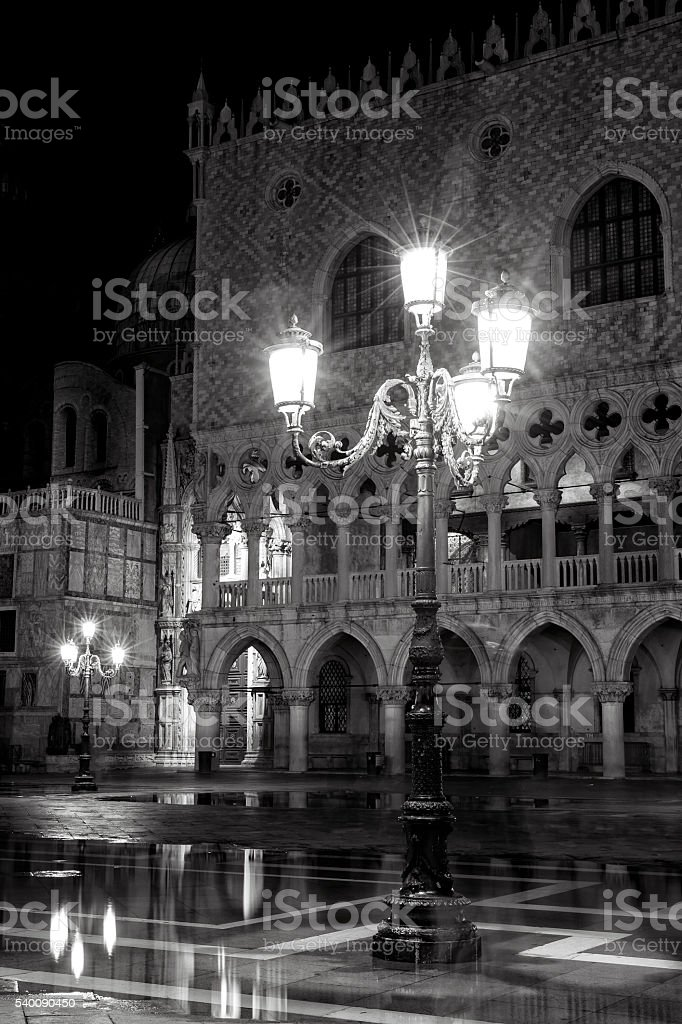 Piazzetta of St Mark's Square in black and white stock photo